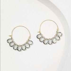 Ann Taylor Loft Gray Sparkle Hoop Earrings